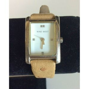 Nine West Wrist Watch Silver Square Face Brown